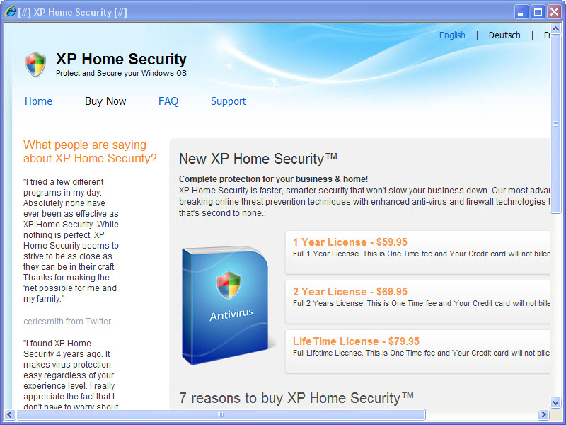 buy XP Home Security 2011 web page