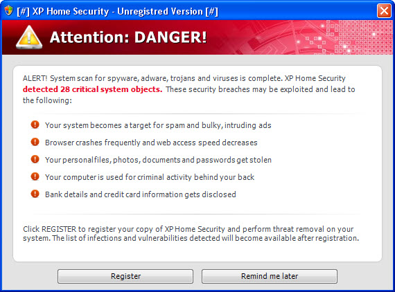XP Home Security 2011 warning