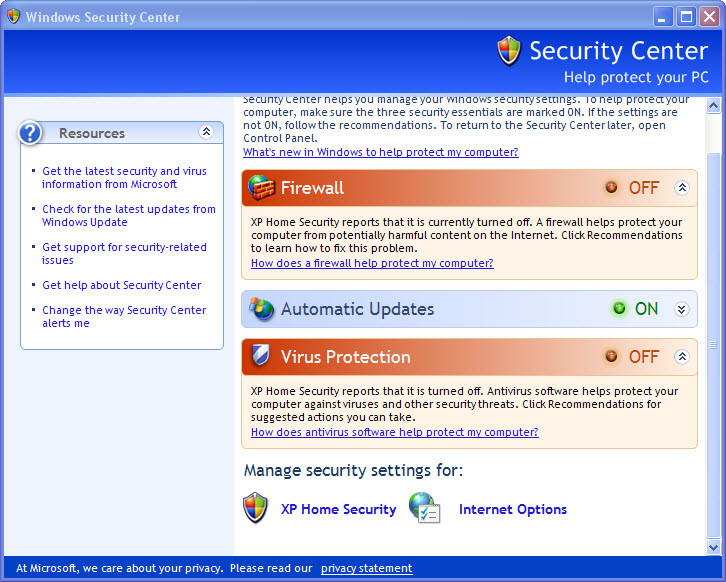 fake windows security center--XP Home Security 2011