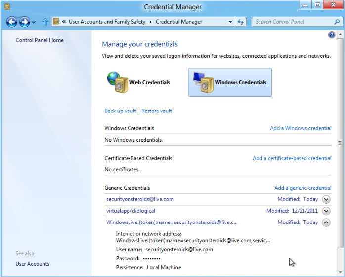 Windows 8 credential manager