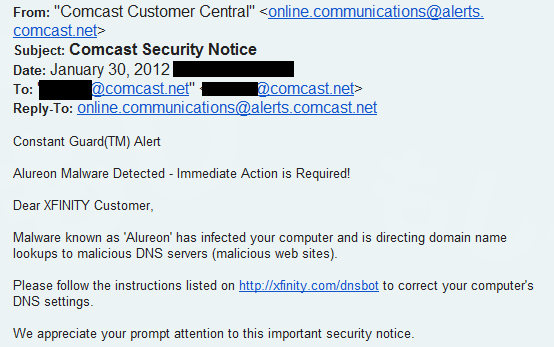 comcast email_dnschanger infection